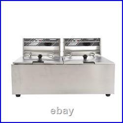 3600W 16L Electric Deep Fryer Portable Dual Tank Basket Commercial Restaurant
