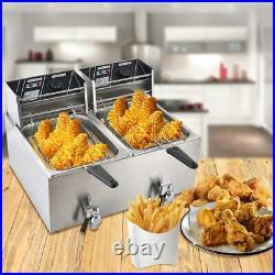 3600W 8L Stainsteel Electric Deep Fryer Dual Tank Basket Commercial Restaurant