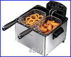 3L Commercial Electric Deep Fryer Hamilton Beach 3-Baskets Fast Food French Fry
