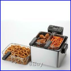 4.0 Qt. Digital Dual Basket Deep Fryer In Stainless Steel