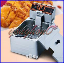 5.5L 220V Single Cylinder Electric Deep Fryer Potato Chicken Churros Frying Pan