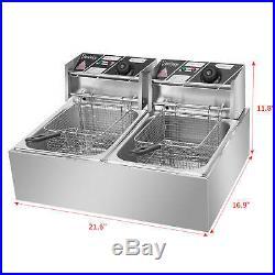 5000W 12L Commercial Electric Heavy Duty Dual Tank Stainless Steel Deep Fryer