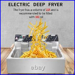 5000W 12L Electric Deep Fryer Large Tank Commercial Restaurant Stainless Steel