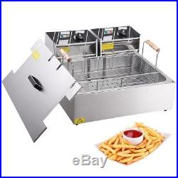 5000W 20L Electric Countertop Deep Fryer Single Large Tank Basket Commercial