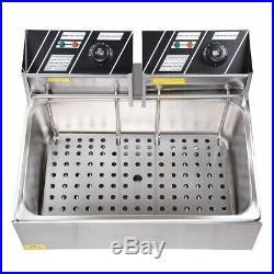 5000W 20L Electric Countertop Deep Fryer Single Large Tank Basket Commercial
