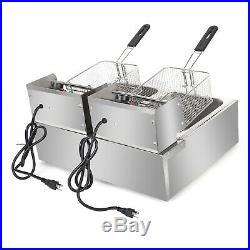 5000W 6/12L Dual Tank Stainless Steel Electric Fryer Commercial Home Deep Fryer