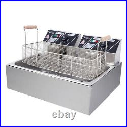 5000W Commercial Electric Countertop Deep Fryer Stainless Steel Single Tank 22L