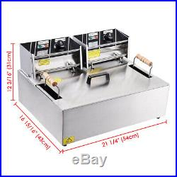 5000W Commercial Electric Countertop Deep Fryer Stainless Steel Tank Basket x1