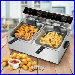 5000W Dual Tank Electric Countertop Deep Fryer Stainless Steel Basket Commercial