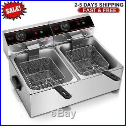 5000W Dual Tank Electric Countertop Deep Fryer with 2 free stainless
