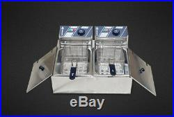 5000W Dual Tank Electric Fryer Deep Commercial Cooking Machine 12L Home Kitchen