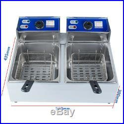 5000W Electric 11L Dual Tanks Deep Fryer Commercial Tabletop Fryer French Fries