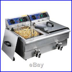 5000W Electric Countertop Deep Fryer Commercial Basket French Restaurant Timer
