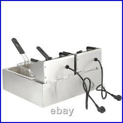 5000W Electric Countertop Deep Fryer Dual Tank Commercial Restaurant 12 Liter US