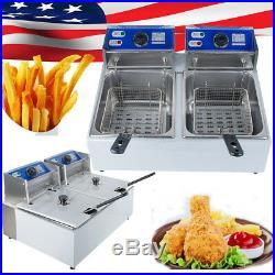 5000W Electric Countertop Deep Fryer Dual Tank Commercial Restaurant&Home 11L A+