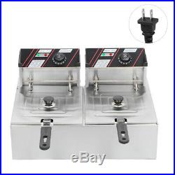 5000W Electric Countertop Deep Fryer Dual Tank Commercial Restaurant with Basket