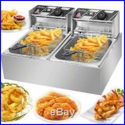 5000W Electric Deep Fryer 12L Dual Tank Commercial Restaurant Frying Basket