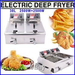 5000W Electric Deep Fryer 30L Commercial Restaurant Fry Basket withTimer Drain US