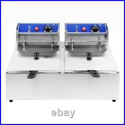 5000W Electric Deep Fryer Dual Tank Stainless Steel 2 Fry Basket Commercial