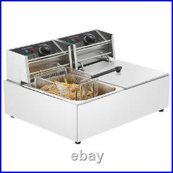 5000W Electric Deep Fryer Dual Tank Stainless Steel Home Commercial Restaurant