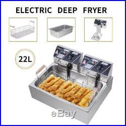 5000W Electric Deep Fryer Tank Commercial Restaurant 22L Temperature Control