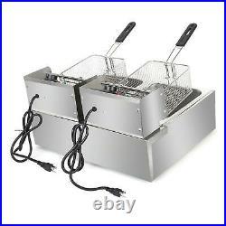 5000W Extra Large Electric Deep Fryer Commercial Restaurant Fry Basket 12.7QT