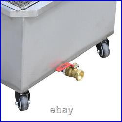 550W Electric Deep Fryer Oil Filter Cart Commercial Restaurant 55 Liter 110V