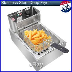 6.3QT/6L Stainless Steel Single Cylinder Electric Deep Fryer Kitchen 2500W Fried