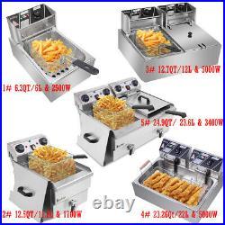 6L 12L 22L ZOKOP Stainsteel Electric Deep Fryer Dual Tank Commercial Restaurant