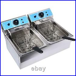 8+8L Electric Deep Fryer Dual Tank Stainless Steel 2 Fry Basket Commercial 2200W