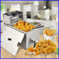 8L 1500W Electric Deep Fryer Commercial Tabletop Restaurant Frying Basket Fish