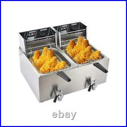 8L 16L Electric Deep Fryer Tank Commercial Countertop Basket Restaurant Steel
