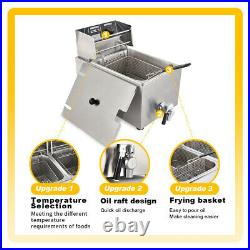8L 1800W Electric Deep Fryer Commercial Countertop Restaurant Family Fry Basket