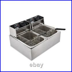 8L+8L Electric Deep Fryer Dual Tank Commercial Countertop Fry Basket Restaurant