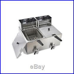 8L+8L Electric Deep Fryer Dual Tank Commercial Countertop Fry Baskets Restaurant