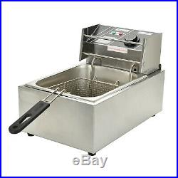 8L Commercial Electric Deep Fryer Countertop Basket French Fry Restaurant Home