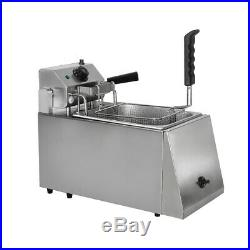 8L Commercial Single Auto Lift-up Electric Deep Fryer+Basket Counter Top 2.8KW