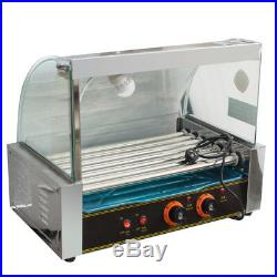 8L Electric Countertop Deep Fryer Commercial Basket Tank+Hot Dog Roller Machine