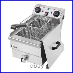 8L Electric Deep Fryer Dual Tank Stainless Steel 2 Fry Basket Commercial 1700W