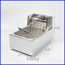 ASG 220V Commercial Electric Deep Fryer with Basket 6L Tabletop Machine for Fry