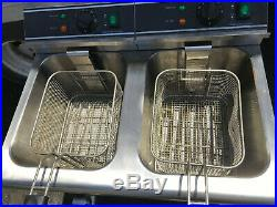 Adcraft DF-12L/2 Double Tank Electric Countertop Deep Fryer With Faucet