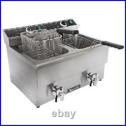 Adcraft DF-12L/2 Electric Dual Tank Countertop Deep Fryer with Faucet