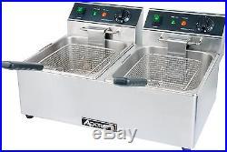 Adcraft DF-6L/2 Electric Counter Top Deep Fryer, Dual Pot 15lb Per Pot