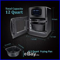 Air Fryer Oven XL with Dehydrator, 12QT 1700W 12 in 1 Electric Deep Fryer, LED
