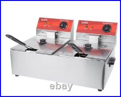 Avantco 20 lb. Dual Tank Electric Countertop Deep Fryer 120V, 3500W