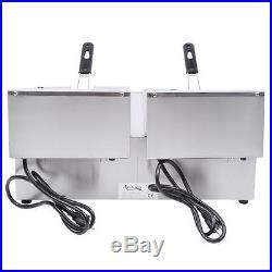 Avantco F102 20 lb Pound Dual Tank Electric Countertop Deep Fryer 120V 3500W