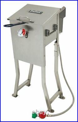 BAYOU 700-725 2.5 GALLON STAINLESS STEEL PROPANE DEEP FRYER With BASKET REGULATOR