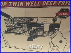 BRAND NEW Winco EFT-32, 32-Ounce Countertop Electric Twin Well Deep Fryer