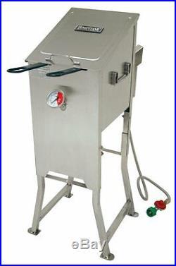 Bayou 700-701 4 Gallon Stainless Steel Propane Deep Fryer with Basket & Regulator