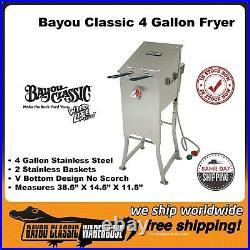 Bayou Classic 4 Gallon 2 Basket Propane Deep Fryer Stainless Steel 700-701